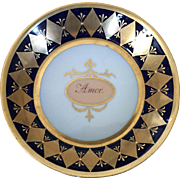 Antique 18th century German KPM Berlin Porcelain Saucer Dish or Bowl in the Neoclassical Taste with Amor - Love - Sentiment