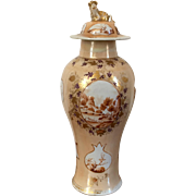 Antique Early 19th century Chinese Export Porcelain Vase & Cover for the American Federal Market Decorated with Sepia Landscape Reserves on a Peach Ground 1810