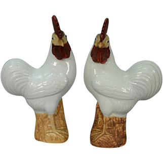 Large Pair Antique 19th century Chinese Porcelain Models of a Rooster