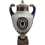 Antique Early 19th century Chinese Export Porcelain Pistol Handled Vase & Cover for the American Federal Market with Urn Medallion and Faux Marble Base 1810