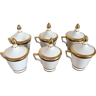 Set Six Antique Late 18th / Early 19th century French Empire Old Paris Porcelain Pot de Creme or Handled Cups and Covers in White with Gold Bands 1800