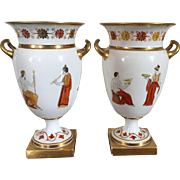 Pair Antique Early 19th century French Empire Old Paris Porcelain Neoclassical Urn Vases Decorated in the Greek Taste by Edouard Honore