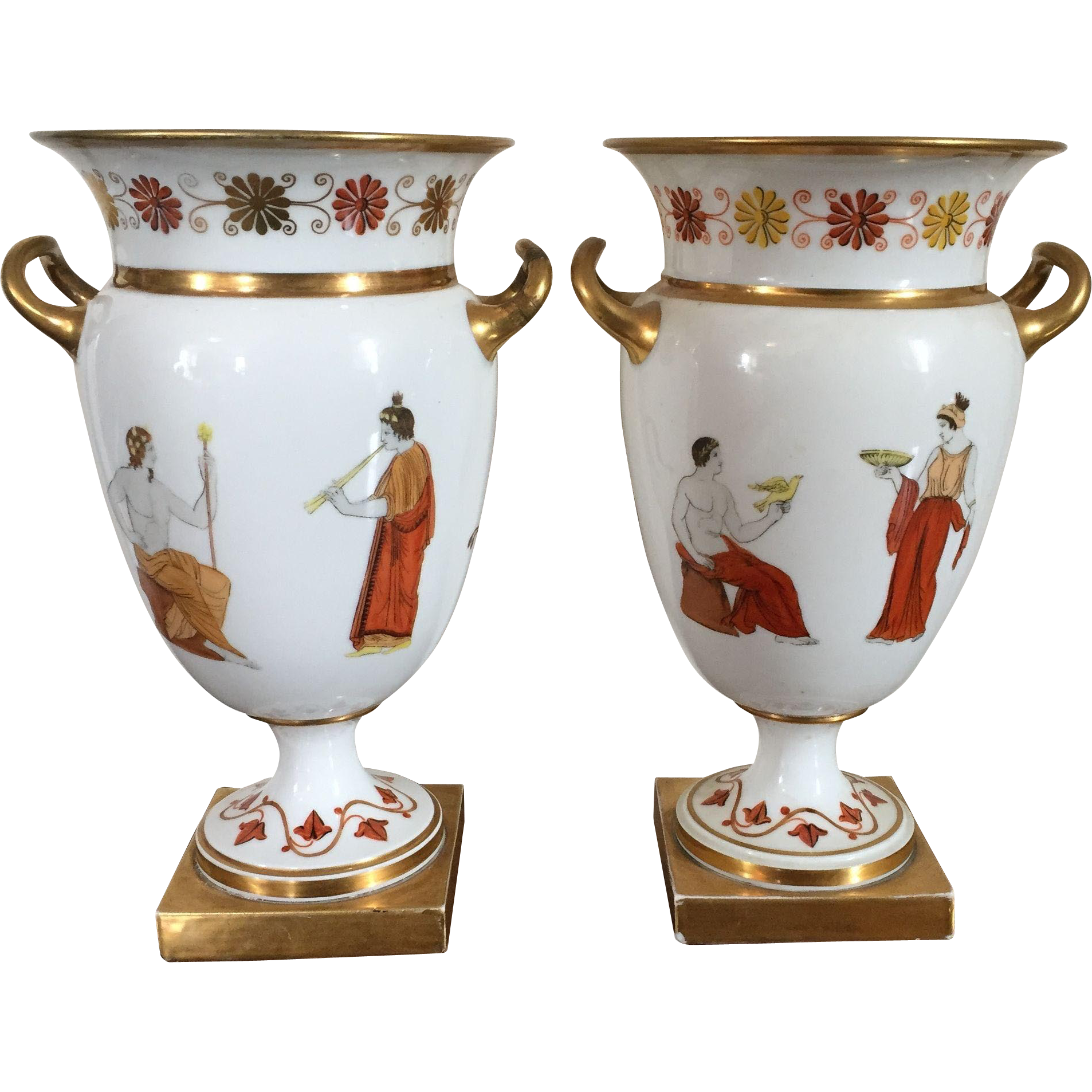 Pair Antique Early 19th Century French Empire Old Paris