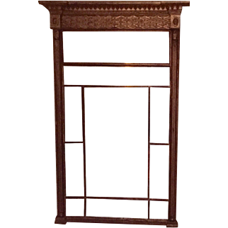 Very Large Antique Early 19th century Federal Gilt Wood Pier Mirror with Divided Panels
