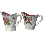 Antique Pair 18th century First Period Worcester Porcelain Tall Chelsea Ewer Tall Cream Jug 1760 - 1765