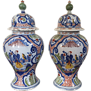 Pair 18th century Polychrome Delft Covered Baluster Vase Urns with Chinese Famille Verte Decoration 1765