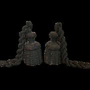 Pair Antique 19th century American Cast Iron Tassel Form Garden Gate Weights & Chains