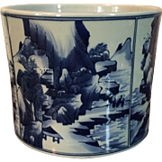 Large Chinese Porcelain Brush Pot with Kangxi Landscape Decoration in Blue on a White Ground - early 20th c.