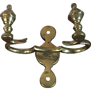 Antique 19th century American Federal Urn Form Brass Jamb Hook for Holding Fireplace Hearth Tools Mounts on the Mantel