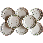 Set 8 Antique 18th century Old Paris Porcelain Rue Thiroux Queen's Factory Plates in the Sprig Cornflower Pattern