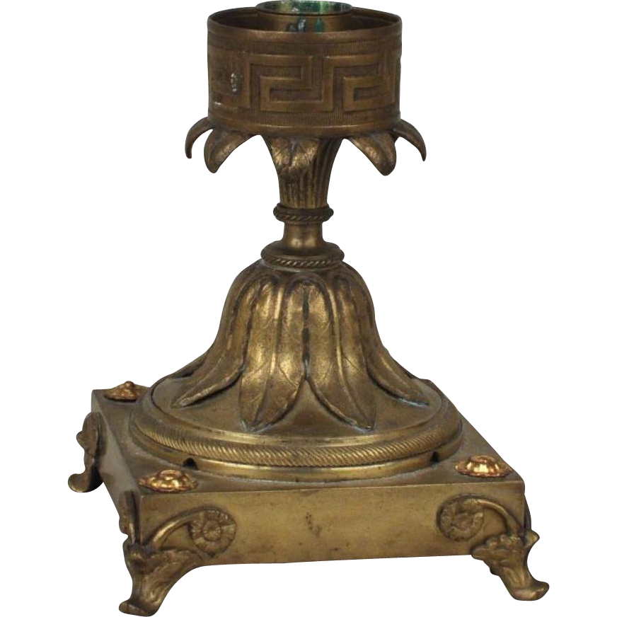 Antique 19th century English Regency Bronze Candle Holder for Glass Hurricane Shade with Greek Key