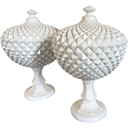 Pair Large Milk Glass Covered Fruit Bowl Urns with Overall Saw Tooth Design