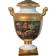Monumental Early 19th century Continental Porcelain Urn Vase with Floral Panel and D Monogram Mounted as a Lamp