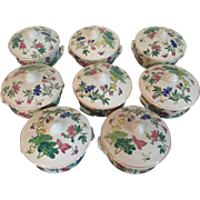 Set 8 Individual Porcelain Covered Soup Bowls in the Chinese Taste with Famille Rose Decoration of Butterflies, Lily Pads and Flowers
