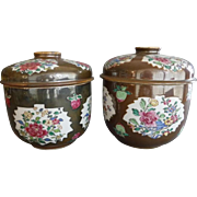 Large Pair Chinese Porcelain Batavian Café au Lait Jars & Covers Qianlong Period (1736-1795) Decorated with Leaf Shaped Panels Containing Peonies on a Brown Ground