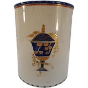 Large Antique Early 19th century Chinese Export Porcelain American Federal Market Tankard Mug with Urn Armorial 1810