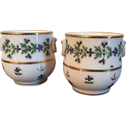 Pair Antique French Empire 18th c. Paris Porcelain Pot de Creme Urn Vase Cup Sprig Cornflower