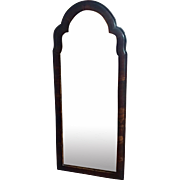 Antique 18th / 19th century English Queen Anne Carved Walnut Cushion Mirror with Cut and Beveled Glass Panel