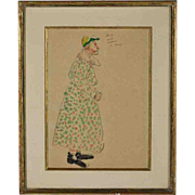 """Edmond Amedee Heuze (France 1884-1967), """"Le Clown"""", Pencil Drawing and Watercolor Painting on Paper, Florence Gould Sale, Sotheby's Monaco"""