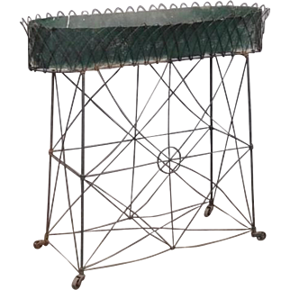 Antique 19th century French Victorian Wirework Window Plant Stand or Planter with Tole Liner for Flower Pots - Old Paint Surface