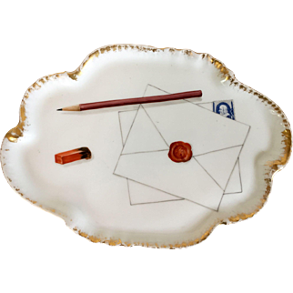 Antique 19th century CFH GDM Haviland Limoges Porcelain Desk Tray Decorated with Tromp L'oeil Envelope with Wax Seal, Stamp, Pencil & Eraser