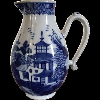 Antique 18th century Chinese Export Porcelain Melon Shape Blue & White Sparrow Beak Jug or Pitcher Decorated with a Continuous Landscape Scene