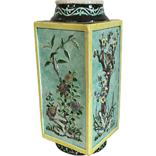Antique 19th century Chinese Famille Vert Porcelain Cong Shape Vase Relief Decorated with Quail Birds and Prunus Depicting the Four Seasons