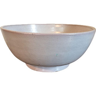 Large Antique 19th century Chinese Monochrome Gray White Pottery Punch Bowl
