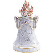 Antique 18th century Italian Doccia Ginori Porcelain Altar Flame Pedestal with Faux Marble Glaze