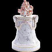 Antique 18th century Italian Doccia Ginori Porcelain Altar Flame Pedestal with Faux Marble Glaze