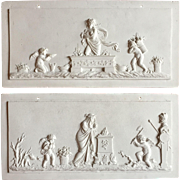 Pair 18th century French Biscuit Bisque Porcelain Neoclassical Architectural Plaques in the Paris or Sevres Manner
