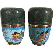 Pair Green Jade Cups or Boxes & Covers Mounted with Cloisonne Exterior Decorated with Birds & Fish