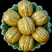 Antique 19th century Majolica Palissy Tromp L'Oeil Green Leaf Plate of Seven Walnuts