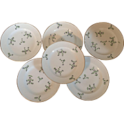 Set 6 Antique 19th century Old Paris Porcelain Nast Plates in the Sprig Cornflower Pattern