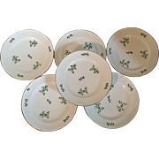 Set 6 Antique 19th century Old Paris Porcelain Dihl Plates in the Sprig Cornflower Pattern