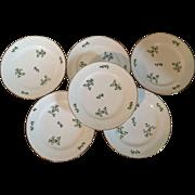 Set 6 Antique 19th century Old Paris Porcelain Dihl Plates in the Sprig Cornflower Pattern
