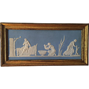 Large Antique 19th century Wedgwood Light Blue Neoclassical Jasperware Plaque Birth of Achilles in Period Gilt Wood Frame