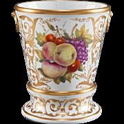 Large Antique Early 19th century Coalport Porcelain Flower Root Pot or Cachepot Vase & Stand 1810