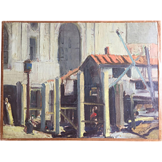 1920's Impressionist Oil Painting of a Roman City Street Scene with Neoclassical Facade Signed Chapman