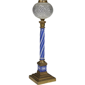 Large Antique Mid 19th century Wedgwood Blue Jasperware Column Form Banquet Lamp with Cut Crystal Reservoir