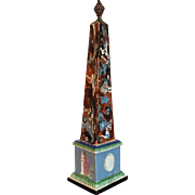 Antique 18th century English Georgian Ralph Wood Pearlware Mochaware Slip Marble Agate Obelisk with Neoclassical Urn & Images of Hercules and Andromache Mourning Hector 1780 - 1790