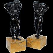 Pair 19th century Grand Tour Bronze Figures of Atlas Mounted on Siena Marble Plinths