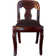 Antique 19th century American Empire Mahogany Salesman's Sample Chair with Horse Hair Slip Seat Doll House 1830