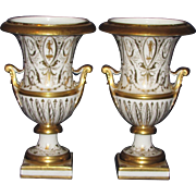 Pair Antique 18th century Old Paris Porcelain White & Gold Urns or Vases in the Neoclassical Taste 1780 - 1790 Le Petit Carrousel