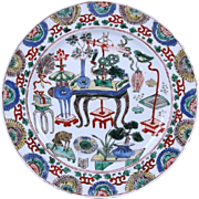 Antique Chinese Kangxi Period 1662 - 1722 Famille Verte Porcelain Plate Decorated with Precious Objects in the 100 Antiques Motif