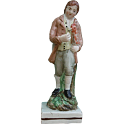 Antique Early 19th century English Staffordshire Pearlware Figure of a Man Holding a Chicken or Rooster Under His Arm 1800
