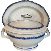 Early 19th century Leeds Pearlware Blue Feather Edge Sauce Tureen and Undertray 1800