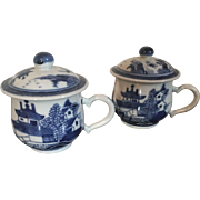 Pair Antique Early 19th century Chinese Export Porcelain Blue & White Canton Syllabub Cups & Covers or Pot de Creme for the American Federal Market 1800