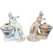 Pair Antique 18h / 19th century Nymphenburg Blanc de Chine Porcelain Blackamoor Continent Figures of America and Africa Modeled as Sweetmeat Dishes with Covers