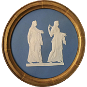 Large Antique 18th century Wedgwood Light Blue Jasperware Pottery Plaque Decorated with Neoclassical Figures in Gilt Wood Frame